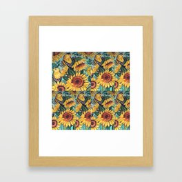 Sunflowers and Goldfinches Framed Art Print