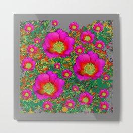Charcoal Grey Design Fuchsia Roses Floral Garden Art Metal Print
