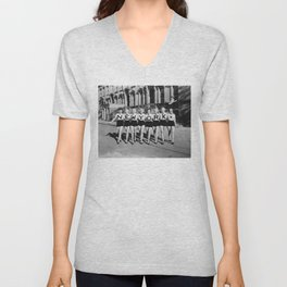 New York girls in the chorus line - vintage mid century photo in B&W Unisex V-Neck