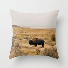 Bison Bull on Antelope Island Throw Pillow