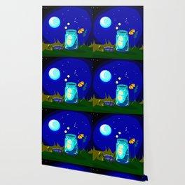 A Jar of Fireflies at Night Wallpaper