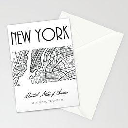 NEW YORK City, USA, Street Map & Coordinates Stationery Cards