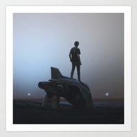spaceship Art Prints featuring SpaceShip by yurishwedoff