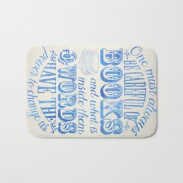 Be Careful Of Books - White and Blue Bath Mat