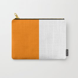 White and Orange Vertical Halves Carry-All Pouch