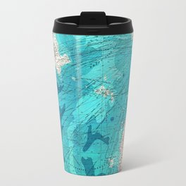 Vintage Blue Transatlantic Mapping Travel Mug