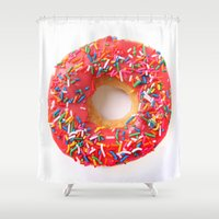 doughnut Shower Curtains featuring Pink Doughnut by L.A.G.