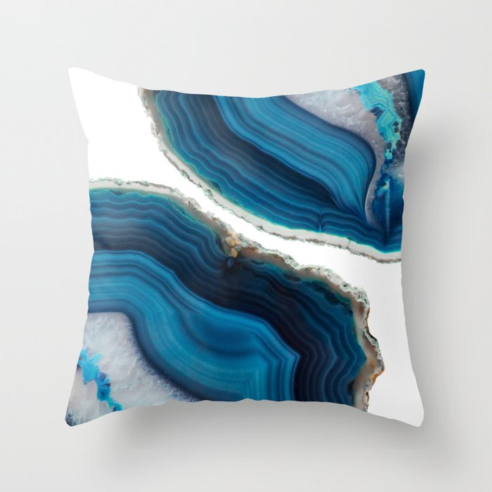 Blue Agate Throw Pillow By Cafelab Society6