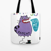 my mad fat diary Tote Bags featuring Fat Cat by Andi Bird