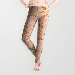 Panthers and Tropical Plants in Blush Leggings