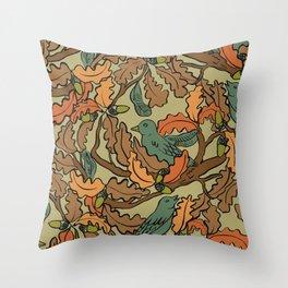 autumn singing birds on a tree  Throw Pillow