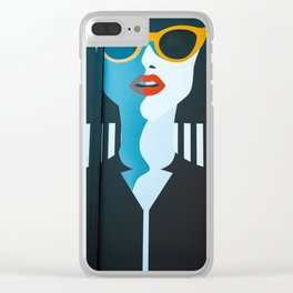 Girl with sunglasses Clear iPhone Case