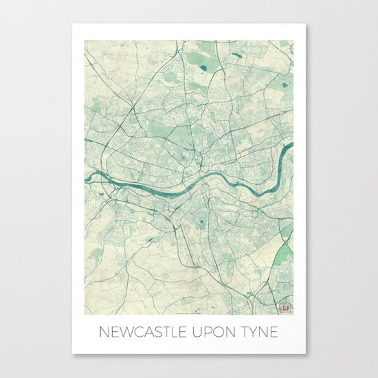 Newcastle upon Tyne Blue Vintage Canvas Print