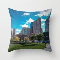 boston Throw Pillows featuring Boston by Jill Deering Creative