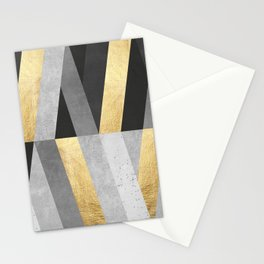 Gold and gray lines I Stationery Cards