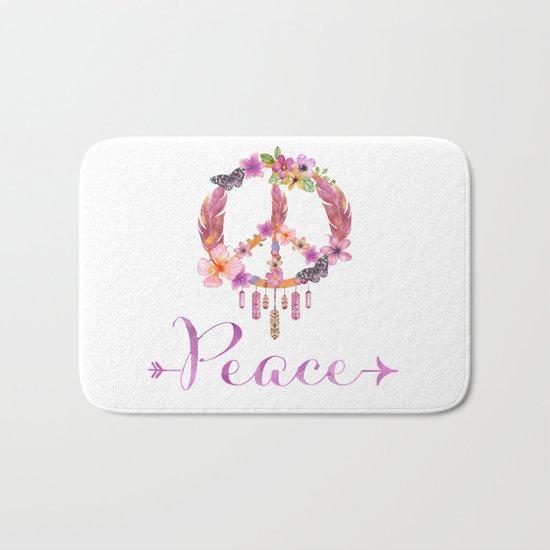 Peace Symbol Flower Power 70s Art Bath Mat