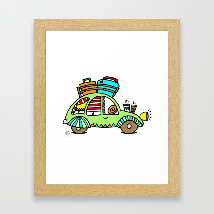A Roadtrip with My Green Citroen 2CV! Framed Art Print