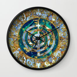 Choku Rei Symbol in Mandala on Marble and Gold Wall Clock