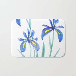 blue iris watercolor Bath Mat