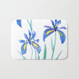 blue iris watercolor Bath Mat