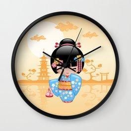 Japanese Maiko Kokeshi Doll Wall Clock
