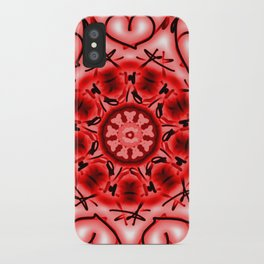 Red Heart Valentine Mandala iPhone Case