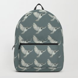 Pattern: Sparrow on blue-grey Backpack