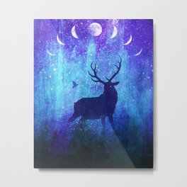 Moon Phase Deer // Phantom of Peaceful Nights Metal Print