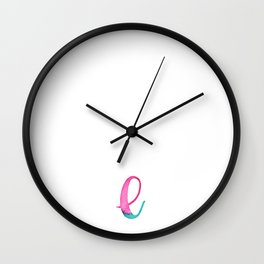 L in watercolor lettering Wall Clock