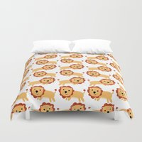 lions Duvet Covers featuring LIONS LEAPING by Kacieeeee
