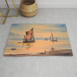 Barges On The River Thames Greenwich London Rug