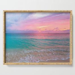 Aerial Photography Beautiful: Turquoise Sunset Relaxing, Peaceful, Coastal Seashore Serving Tray