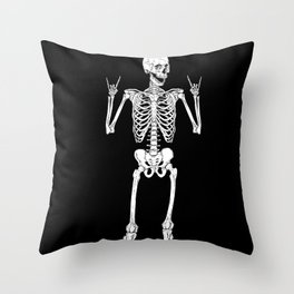 Metal and Rock and Roll Skeleton Throw Pillow