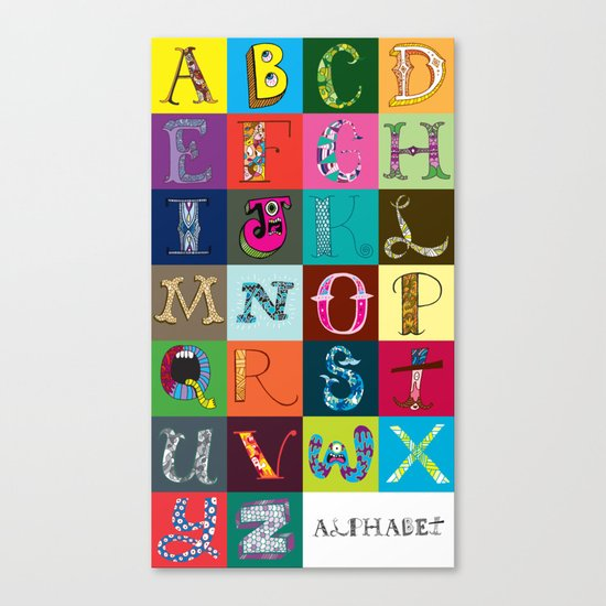 Hand Drawn Alphabet Canvas Print
