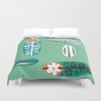 surfboard Duvet Covers featuring Retro Hawaiian Surfboard by Vanillabeandesigns