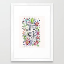 F**k yes! Watercolour Typographic Print Framed Art Print