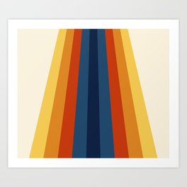 Bright 70's Retro Stripes Art Print