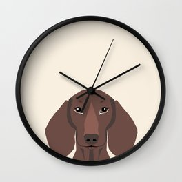 Piper - Dachshund, weener dog, wiener dog, pet portrait, sausage dog, pet Wall Clock