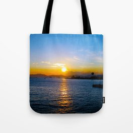 Sunset in Star Ferry Pier, Hong Kong Tote Bag