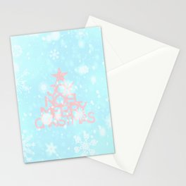 Joy, Noel, Merry Christmas and Star pattern - pink on aqua Stationery Cards