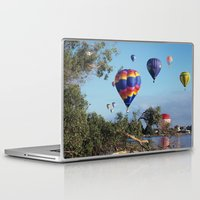 hot air balloon Laptop & iPad Skins featuring Hot air balloon scene by Bruce Stanfield
