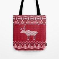 reindeer Tote Bags featuring  Reindeer by Julia Badeeva