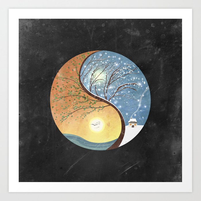 Opposites Love Yin Yang Tree Summer Winter 2 Art Print