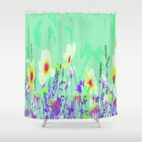 leah flores Shower Curtains featuring Flores Silvestres by Aloke Design