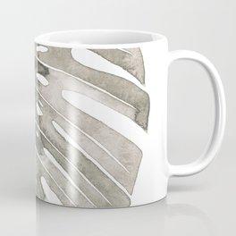 Beige Monstera Leaf Coffee Mug