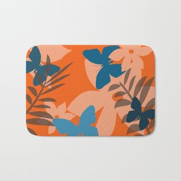 Coral leaves with blue butterflies Bath Mat