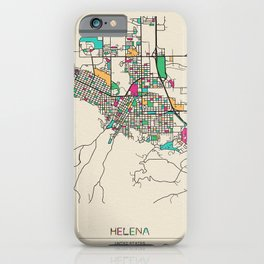 Colorful City Maps: Helena, Montana iPhone Case