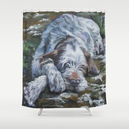 Spinone Italiano dog art portrait from an original painting by L.A.Shepard Shower Curtain