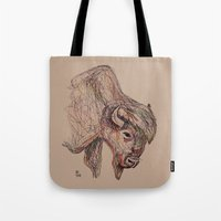 bison Tote Bags featuring Bison by Ursula Rodgers
