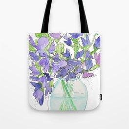 Sweet Pea Flowers Tote Bag